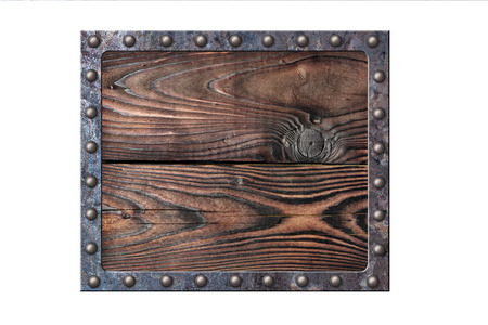Photo pour Vintage wooden signboard for information in rusty metallic frame on rivets isolated on white background - image libre de droit