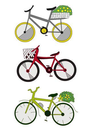 Illustration pour three colored bikes cartoon vector art isolated on white - image libre de droit
