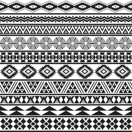 Illustration pour Tribal striped seamless pattern  Geometric black-white background  Swatches of seamless pattern included in the file  - image libre de droit