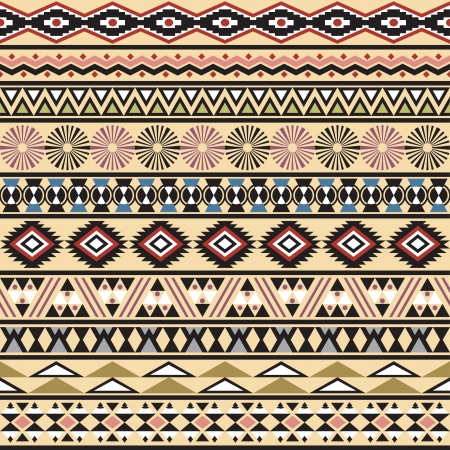 Tribal striped seamless pattern  Geometric multicolor background  Vintage soft colors  Swatc