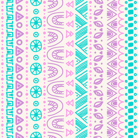 Tribal striped seamless pattern. Hand drawn aztec background. Soft colors. Can be used in fa