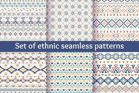 Illustration for Set of six ethnic seamless patterns. Aztec geometric backgrounds. Stylish navajo fabric. Modern abstract wallpaper. Vector illustration. - Royalty Free Image