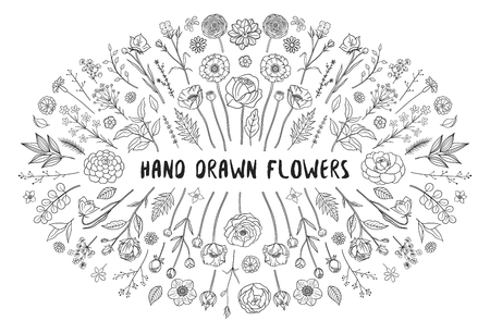 Floral set. Collection of hand drawn floral elements of different flowers. Monochrome. Floral decor for your spring, summer design. Bohemian collection. Vector illustration