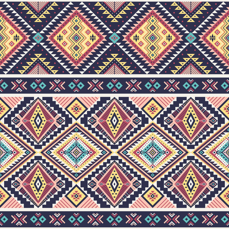 Illustration pour Tribal striped seamless pattern. Aztec geometric vector background. Can be used in textile design, web design for making of clothes, accessories, decorative paper, wrapping, envelope; backpacks, bags, phone cases, etc. - image libre de droit