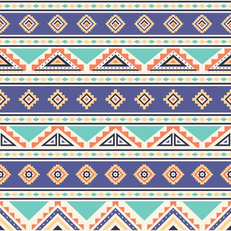 Illustration pour Tribal striped seamless pattern. Aztec geometric vector background. Can be used in textile design, web design for making of clothes, accessories, decorative paper, wrapping, envelope; backpacks, etc. - image libre de droit