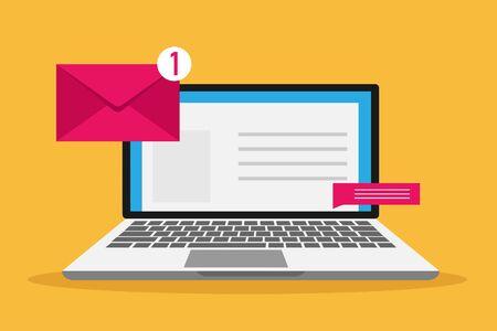 Illustration pour Vector communication icons in flat retro style - mail, message, contract, website addres. - image libre de droit