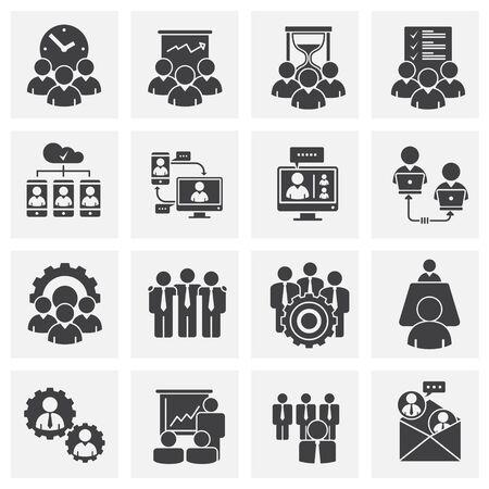 Illustration pour Teamwork related icons set on background for graphic and web design. Creative illustration concept symbol for web or mobile app. - image libre de droit