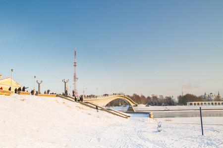the city of Veliky Novgorod, Russia, 5 January, 2016. The territory of the Novgorod Kremlin in winter
