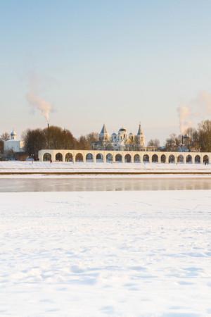 The city of Veliky Novgorod, Russia, 5 January, 2016. The waterfront opposite the Novgorod Kremlin in winter
