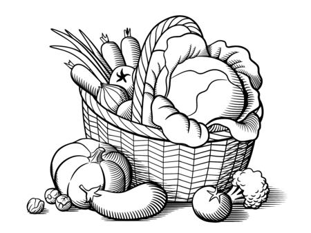 Ilustración de Basket with vegetables. Stylized black and white vector illustration. Cabbage, pumpkin, eggplant, tomatoes, onion, carrots, broccoli, brussels sprouts - Imagen libre de derechos