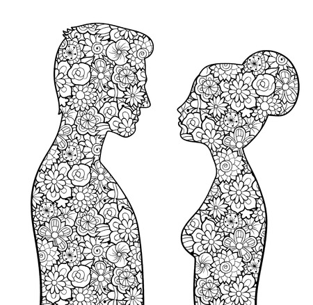 Male and female silhouettes with flowers. Man and woman looking to each other. Couple of lovers. Antistress coloring page for adults. Monochrome vector image, isolated on white