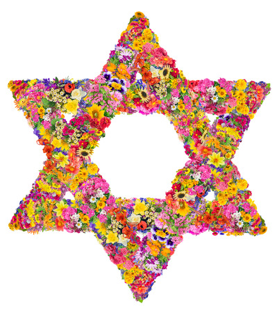 The symbol of Judaism - David star. Sign is made from bright  summer flowers. Isolated abstract handmade collahe