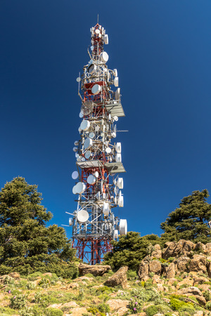 Big communications tower in a sunny day on Estepona, Malaga, Spain