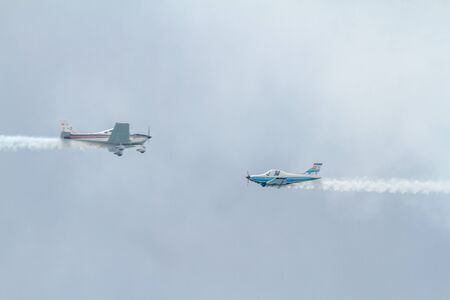 TORRE DEL MAR, MALAGA, SPAIN-JUL 31: Aircraft of the formation Plus Ultra  taking part in a exhibition on the 1st airshow of Torre del Mar on July 31, 2016, in Torre del Mar, Malaga, Spain