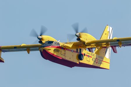 TORRE DEL MAR, MALAGA, SPAIN-JUL 27: Seaplane Canadair CL-215  taking part in a exhibition on the 3rd airshow of Torre del Mar on July 27, 2018, in Torre del Mar, Malaga, Spain