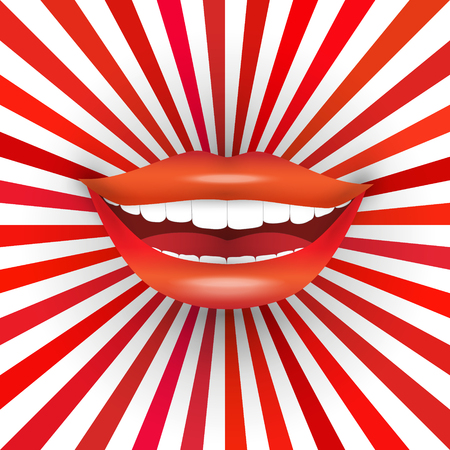 Happy smiling woman's mouth on red sunburst background. Big smile, red lipstick, white teeth