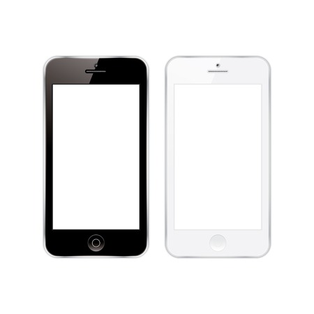 vector illustration of a mobile phones black and white.