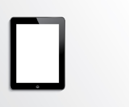 computer tablet with blank white screen  vector realistic illustration  eps10