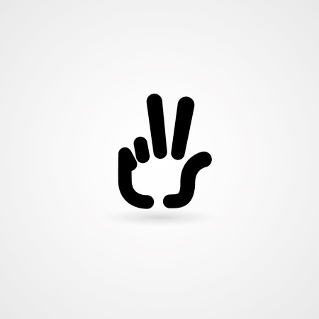 hand icon victory sign. vector のイラスト素材