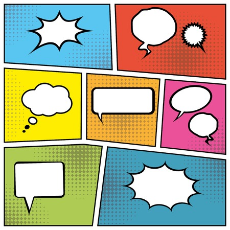 blank comic speech bubbles in pop art style background.