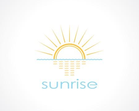 rising above the sea the sun. template logo design
