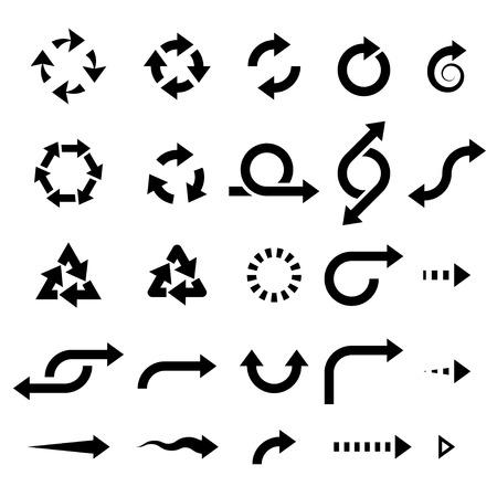 circular black arrows . vector design elements set
