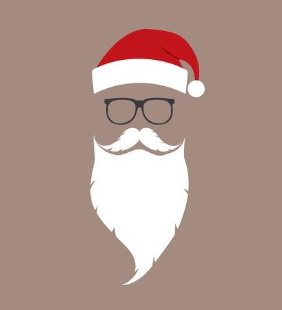 Illustration for hat, beard and glasses Santa - Royalty Free Image