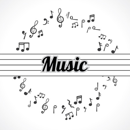 music notes in a circle abstract background