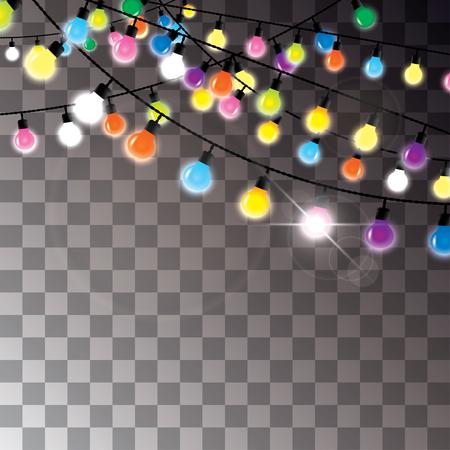 Ilustración de colorful light bulbs hanging on wires - Imagen libre de derechos