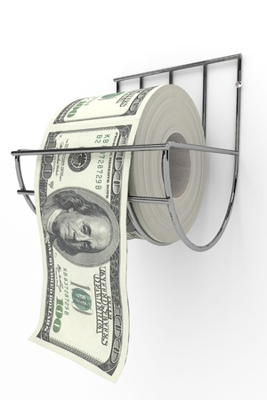 Roll of 100 dollarss bills on a toilet paper spindle