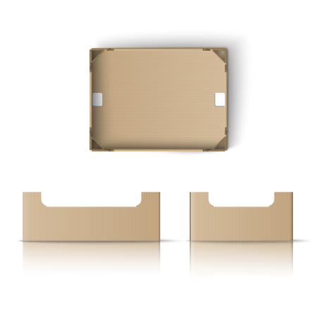 Illustration pour Realistic box template. Box for fruit and vegetables - image libre de droit