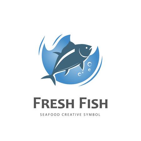 Illustration pour Fresh fish vector design logo template. Seafood restaurant idea. - image libre de droit