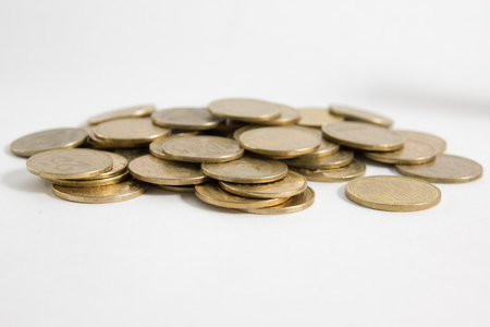 Columns Of Coins Isolated On White Background Royalty Free