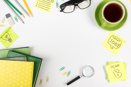 Photo for Office table desk with supplies, notepad, computer and coffee cup. Business creative consept. Copy space. - Royalty Free Image