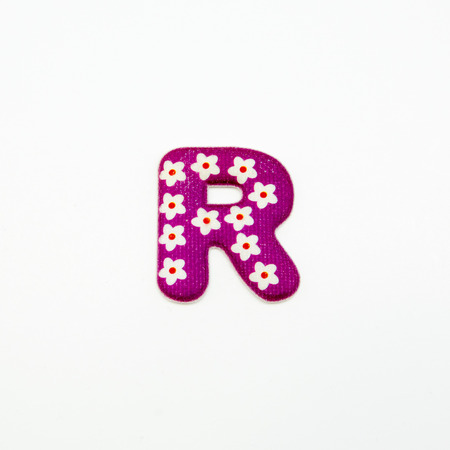 Letter R plastic sticker isolated on white background