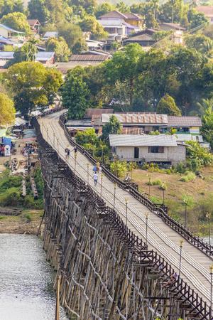Mon Bridge, the longest wooden bridge of Thailand.