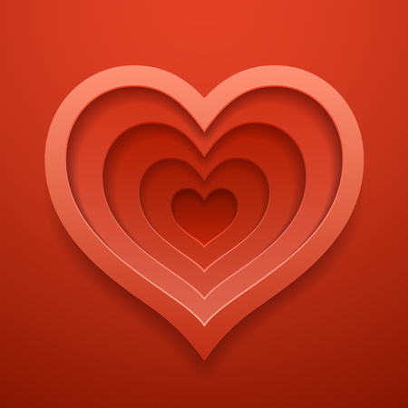 Heart cutted out shape. Happy Valentine's or wedding day decoration template. Vector concept design.