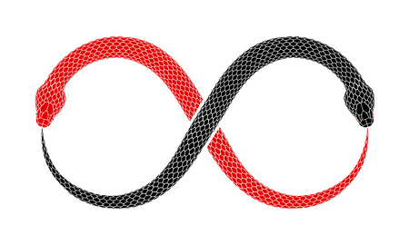 Illustration pour Vector illustration of two snakes intertwined in shape of Ouroboros sign are eating their tails. Tattoo design with red and black serpents isolated on a white background. - image libre de droit