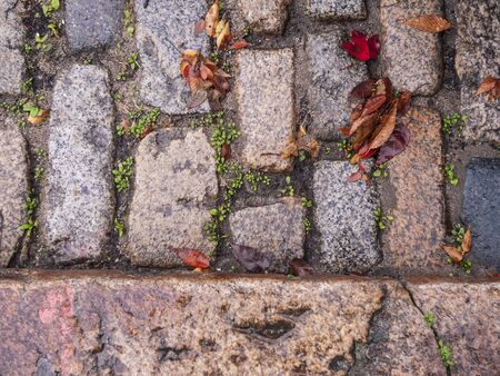 Photo pour Sett stones used to pave historic street in New Bedford Massachusetts - image libre de droit