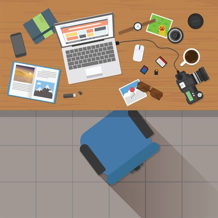 Illustration pour Top view of photographer working desk with stuff and laptop - image libre de droit