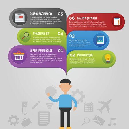 Illustration pour Infographic with a man and speech bubble about what he think - image libre de droit