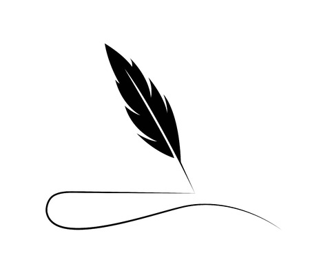 Illustration for Feather Quill Logo - Royalty Free Image