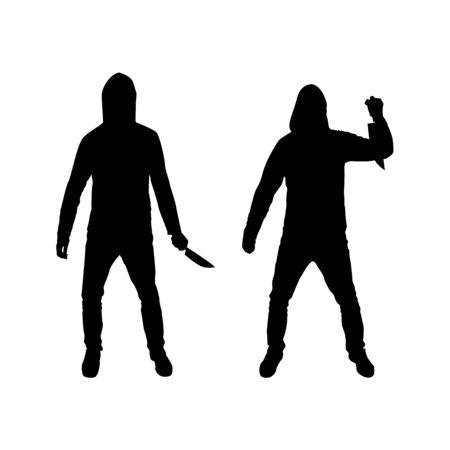 Illustration pour Criminal in the hood with a knife silhouette - image libre de droit
