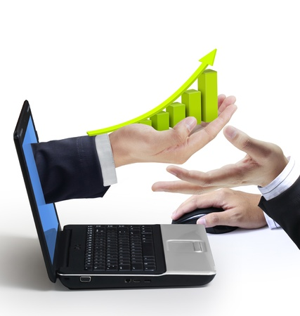 Hand reaches Graph out of an Laptop