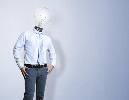 Businessman , light bulb head