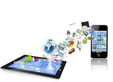 tablet computers ands   mobile phone isolated on white background