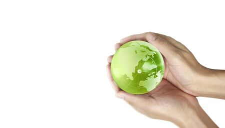 Foto de Globe ,earth in human hand, holding our planet glowing. Earth image provided by Nasa - Imagen libre de derechos