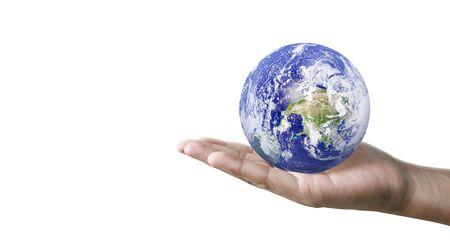 Foto de Globe earth in human hand, holding our planet glowing. - Imagen libre de derechos
