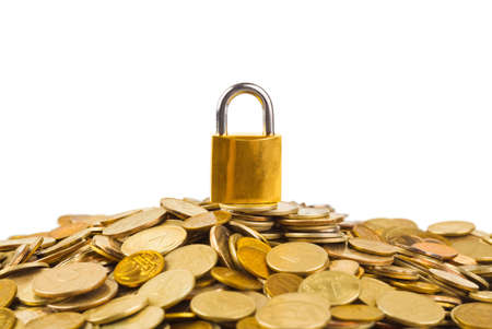Coins and lock isolated on white background