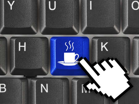 Computer keyboard with coffee key - business concept